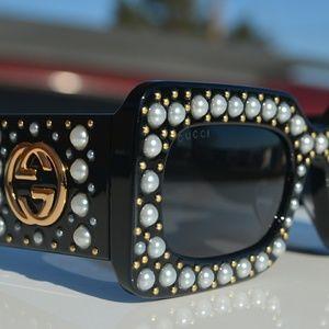 Gucci Rectangular Actate Pearl Sunglasses